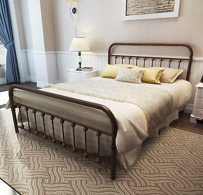 TEMMER Metal Bed Frame Queen Size with Headboard and Footboard Single Platfor...