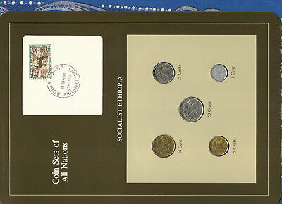 Coin Sets of All Nations Ethiopia 50,25,10,5,1 cents 1977 British Mint UNC Fox