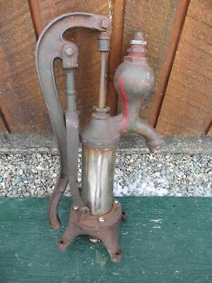 "Vintage Cast Iron Hand BRASS CYLINDER WATER PUMP Good Condition 20"" BROCKVILLE"