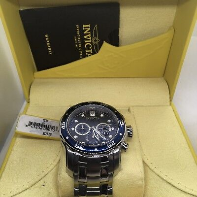 Invicta Pro Diver Scuba 0070 Blue Chronograph Dial Stainless Steel Men's Watch#5
