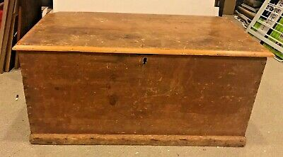 Antique Blanket/Dowry Chest/Trunk Wood Wooden Possibly Pine