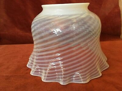 Victorian Opalescent Swirl Glass Gas Style Light Shade, White Swirl, Excellent