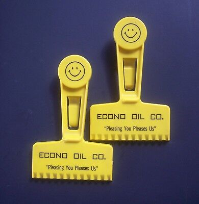 2 - Vintage Econo Oil Smiley Face Advertising Automobile Windshield Ice Scrapers