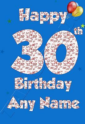 Personalised 30th Birthday Card Son Nephew Brother Male Boy Blue Age 30