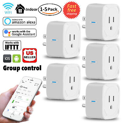 5X Smart Plug Wifi Remote Outlet Swtich Work With Amazon Alexa Google Home IFTTT