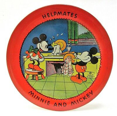 1930's MICKEY & MINNIE Doing Dishes Ohio Art tin plate tip tray *