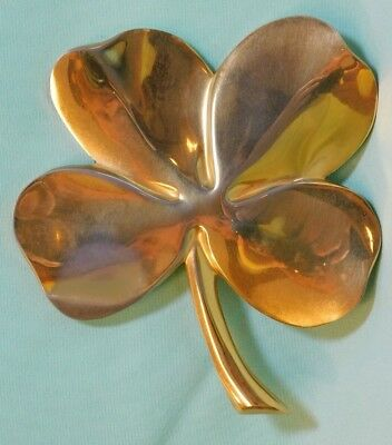 Vintage Gerity 24 Karat Gold Plated Four Leaf Clover Shamrock Paperweight 1984