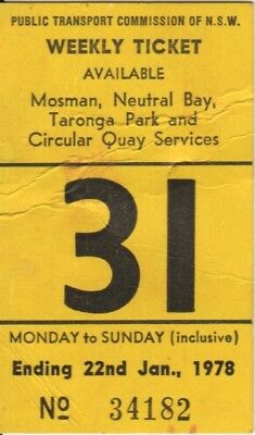 Public Transport Commission of NSW Ticket 1978