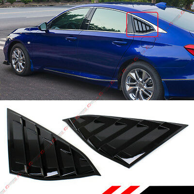2X Sport Style Carbon Fiber Print Quarter Window Scoops Louvers for Honda Accord Sedan 2018 2019