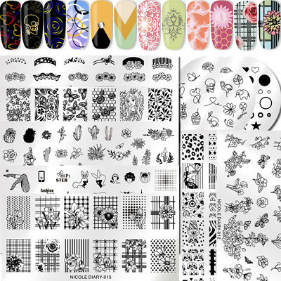 NICOLE DIARY Ongles Stamping Pochoir Plaque Modèle Nail Art Ongle Plate Manucure