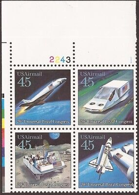 US Stamp - 1989 45c UPU Futuristic Mail Delivery - PB 4 Stamps #C122-5