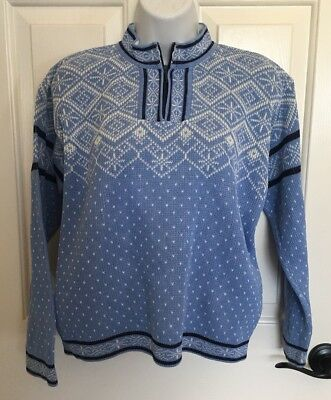 HANNA ANDERSSON Blue White Fair Isle Nordic Sweater 150 (US 12) VGUC Boy Girl
