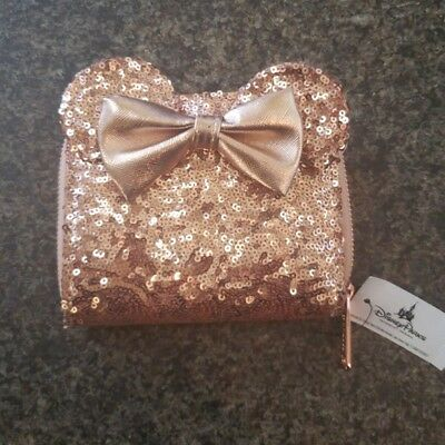 Disney Parks Loungefly Rose Gold Minnie Wallet