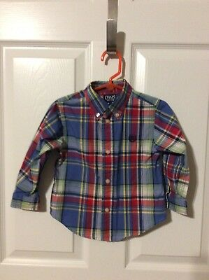 Toddler Boy's Chaps Long Sleeve Button Up Plaid Shirt Size 24 Months