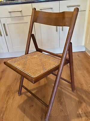Vintage Wood Folding Chair with Cane Base Wooden Folding Chair