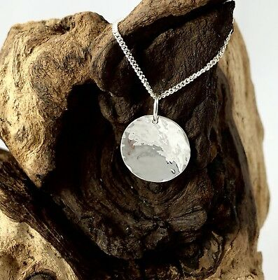 Solid 925 Sterling Silver 13mm Hammered Disc Pendant Reversible Polished Finish