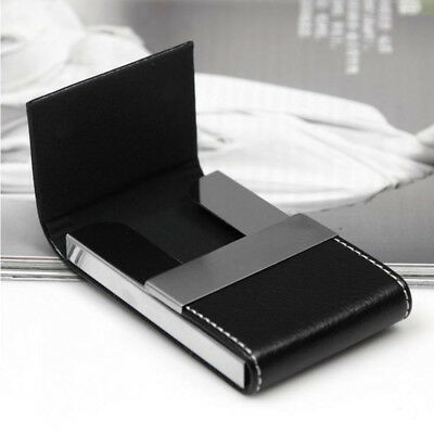 New Men Women Wallet Metal Leather Credit Card Holder Double Open Business Case