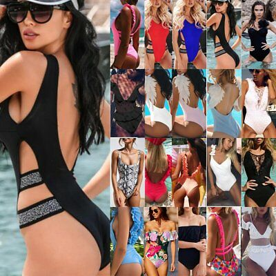 New Women One Piece Bathing Monokini Push Up Padded Bikini Swimsuit Swimwear Lot