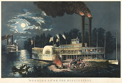 Fine Art Print The Mississippi in Time of Peace Currier /& Ives Reproduction