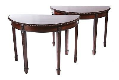Pair Mahogany Demi lune console tables c.1900