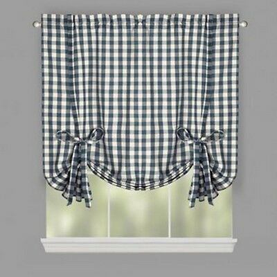 """Buffalo Plaid Farmhouse Country Check Tie-Up Window Shade Willow Branch 38x63"""""""