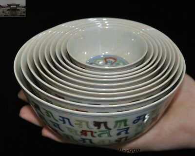 """China Ming Dynasty""""成化""""Marked Wucai Old Porcelain Ten Tea bowl Cup Bowls Set"""