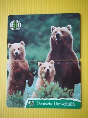 2 Germany mint phonecards - puzzle set. - bears