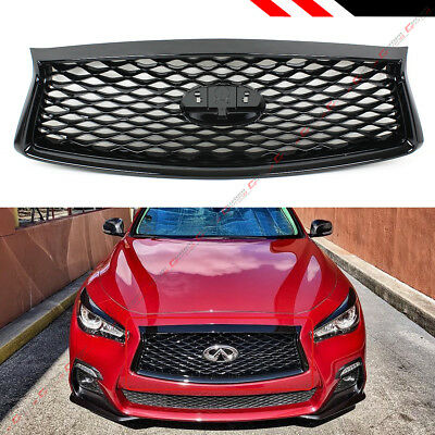 For 2018-19 Infiniti Q50 Glossy Black Out Front Bumper Upper Grille Replacement