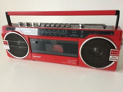 Boombox SHARP QT-27 ROUGE / COURROIES NEUVES /Portable Radio Cassette Stereo Red