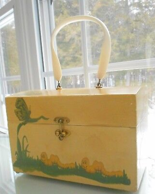 1970s DECOUPAGE BOX PURSE WITH LARGE CURVY HANDLE, VINTAGE PURSE,BUTTERFLIES