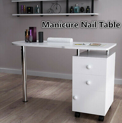 Manicure Table Moving Nail Bar Table 2 Drawers 1 Storage Beauty Salon Desk White