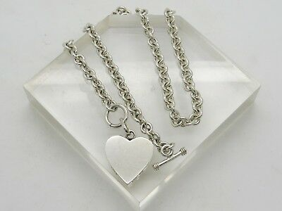 MEXICO Sterling Silver 925 Shiny Oval Link Heart Tag Toggle Chain Necklace 17.5""
