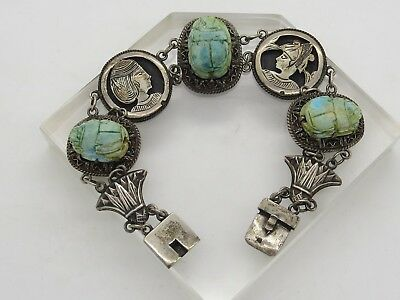 Sterling Silver .925 VINTAGE Egyptian Scarab Carved Beetles LARGE Bracelet 7.75""