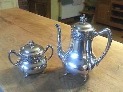 Art Nouveau WMF Silver Plate Coffee pot and Sugar Bowl, Jugendstil Secessionist