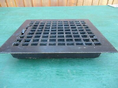 Antique VICTORIAN Cast Iron Floor Grille 13x12 Heat Grate Register with Louvers