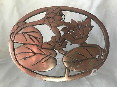 Vintage Floral Copper Cast Iron Metal Footed Trivet Lily Pad Design 8x6""