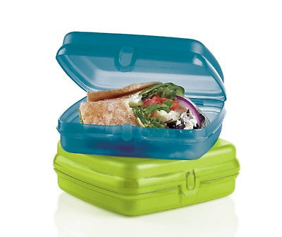 FREE SHIP Tupperware Sandwich Keepers Set 2 lunch bagels wraps hinge save NEW