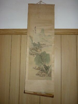Vintage Chinese Hand Painted Wall Hanging Scroll Artist Signed Red Seal 1 of 2