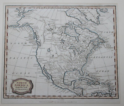1806 Original Antique Map of NORTH AMERICA by Barlow Printed by Kinnersley