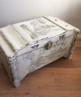 Large Painted Wood Camphor/Trunk Oriental Carvings. Distressed. Shabby Chic.