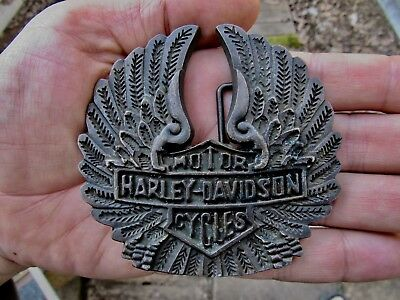 Vtg HARLEY DAVIDSON Belt Buckle WINGS Motorcycle HD Chopper 3D Brass RARE VG++
