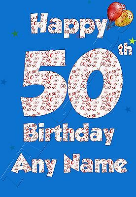 Personalised 50th Birthday Card Male Husband Friend Brother Uncle Grandad