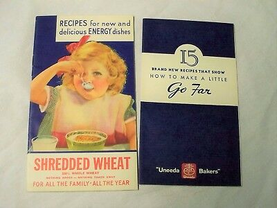 2 Vintage 1933 National Biscuit Shredded Wheat + Premium Cracker Recipe Booklets