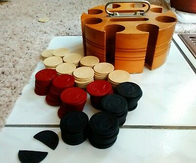 Vintage  165 Ram's Head heavy Clay Poker Chips w/old poker chip wood caddy