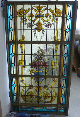 Antique Spanish, Iron, Leaded, Stained Glass Window, with Hinges. /Door