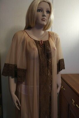 Vintage Sheer Cocoa Nylon Negligee Robe - Large