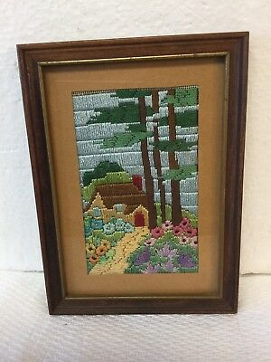 Antique Colorful Embroidery Needlepoint Picture Landscape In Original Frame