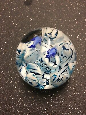 Vintage Paperweight. Fish With Blue & White Glass Made To Look Like Coral