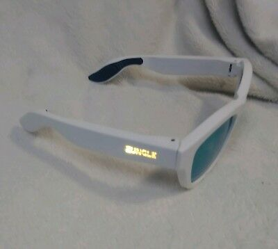 Zungle Bluetooth Audio Smart Sunglasses- White w/ Green Reflective Lense b6