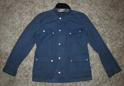 Barbour INTERNATIONAL SMU ENFIELD Waxed Jacket in Blue - Small [3002]